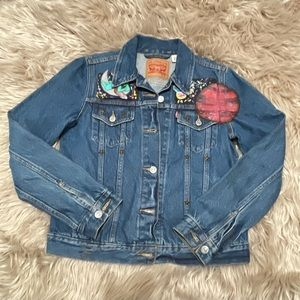 Hand painted  space themed Levis denim jacket
